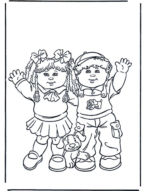 boy and girl children coloring page