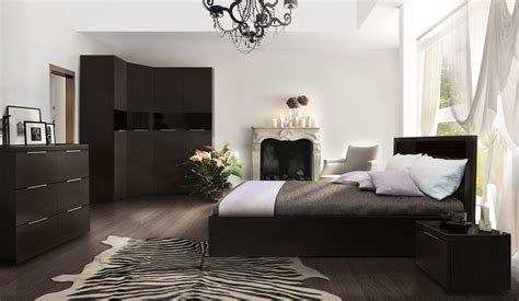 elegant white bedroom with dark furniture 24 with a lot