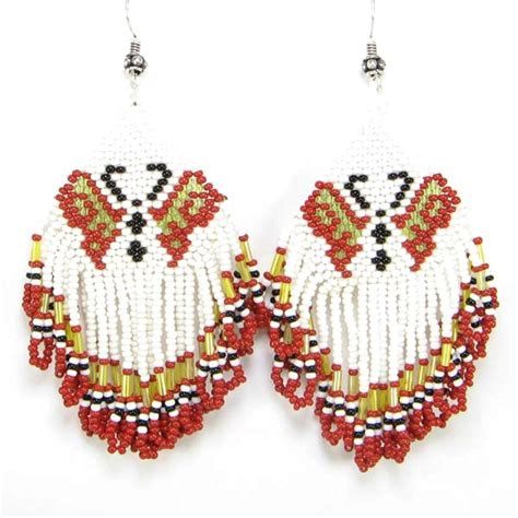 Wholesale Handmade Jewellery - white golden seed beaded butterfly earrings wholesale