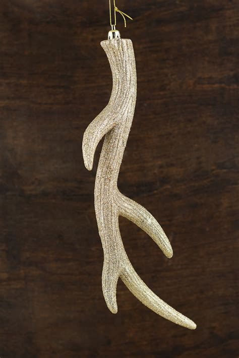 antler ornament gold 13in