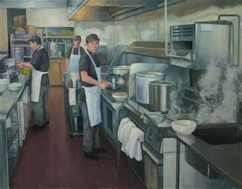 China Kitchen by California Painter Tony Peters Palms On Wilshire And