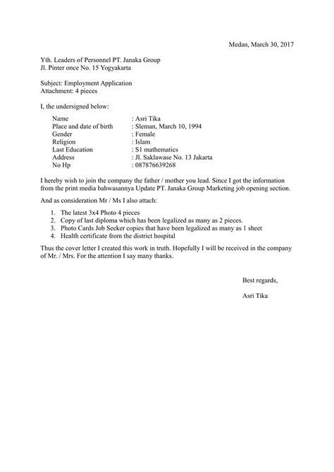 Contoh Surat Lamaran Pekerjaan In English - Berbagi Contoh