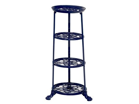 navy blue console cabinet metal pot display stand blue kitchen pot stand