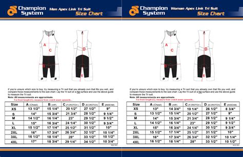 triathlon sizing charts