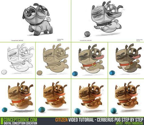 pug drawing step by step tutorial step by step cerberus pug by cgcookie on deviantart