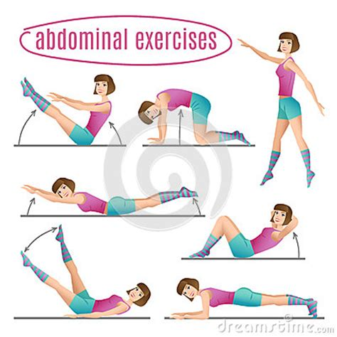 set of exercises doing abdominal exercises stock vector image 56937402