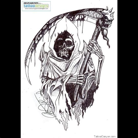 tribal grim reaper tattoo stencil real photo pictures