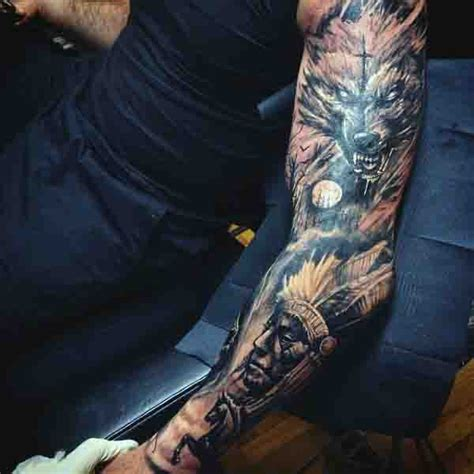 full hand wolf tattoo 90 moon tattoos for men ship of light on the sea of night