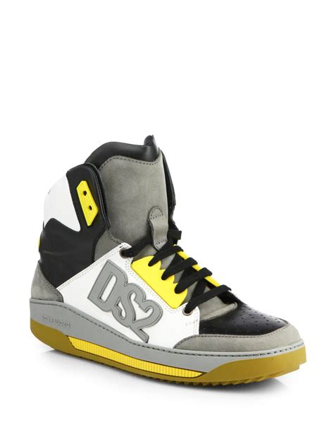 dsquared high top sneakers dsquared 178 ds2 logo high top sneakers in gray for lyst