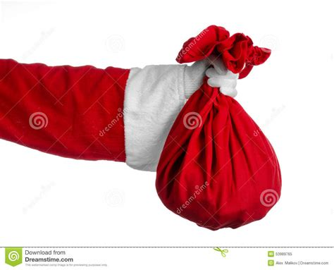red santa sack for babies pictures santa claus theme santa holding a big sack with gifts on a white background stock photo