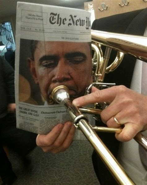 Trombone Memes - obama playing trumpet funny pictures quotes pics