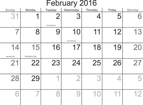 printable monthly planner february 2016 calendar 2016 printable february search results