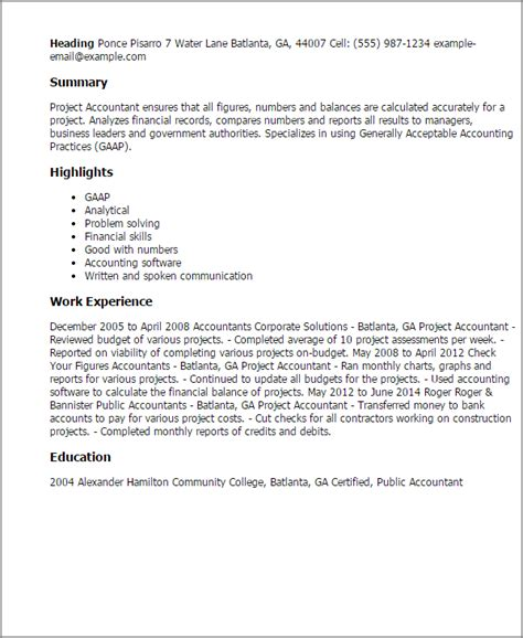 project accountant resume sle cover letter hamilton college 28 images sle cover