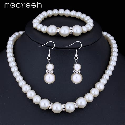 mecresh new simulated pearl jewelry silver plated necklace