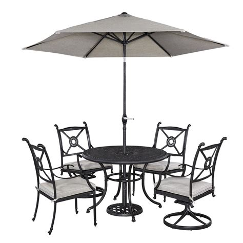 Patio Dining Set With Umbrella Home Styles Athens 5 Patio Dining Set With Umbrella 5569 30586 The Home Depot
