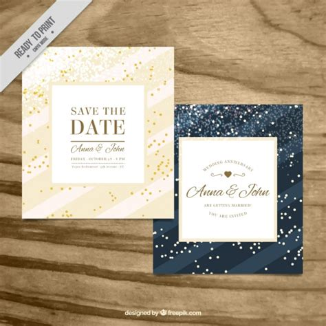 Wedding Card Ai by Beautiful Wedding Cards With Confetti Vector Free