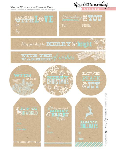 printable tags free christmas party printables from three little monkeys