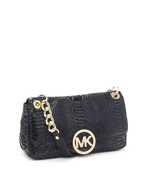 Small Patent Bay Shoulder Bag by Michael Kors Small Fulton Patent Python Embossed Shoulder