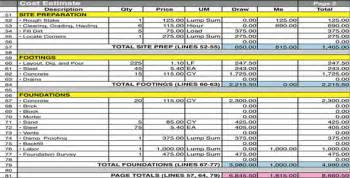 Estimate Building A House Home Construction Cost Estimate Sheet Download