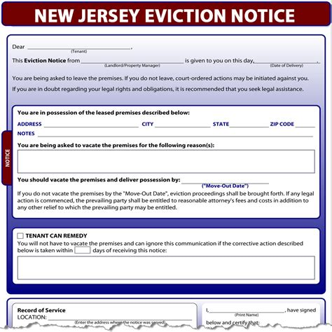 Tenant Eviction Notice New Jersey New Jersey Eviction Notice