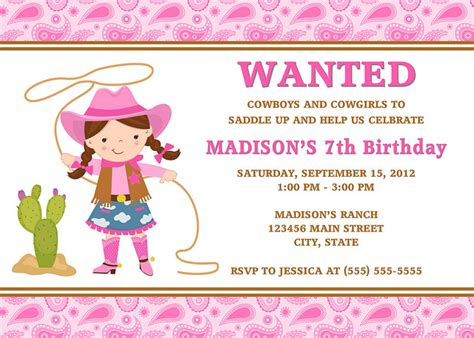 cowgirl birthday invitations ideas bagvania free