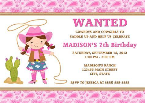 cowgirl birthday invitations ideas bagvania free