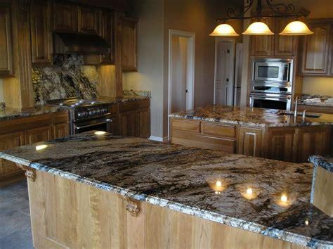 light maple cabinets   granite     blue
