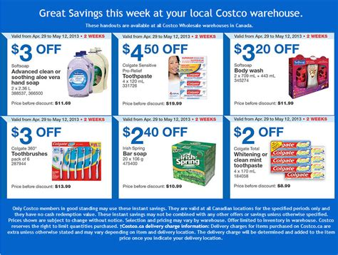printable grocery coupons ottawa costco weekly handout instant savings coupons apr 29