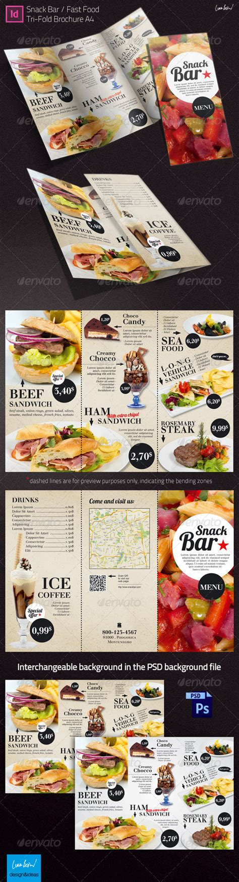 tri fold brochure snack bar menu graphicriver