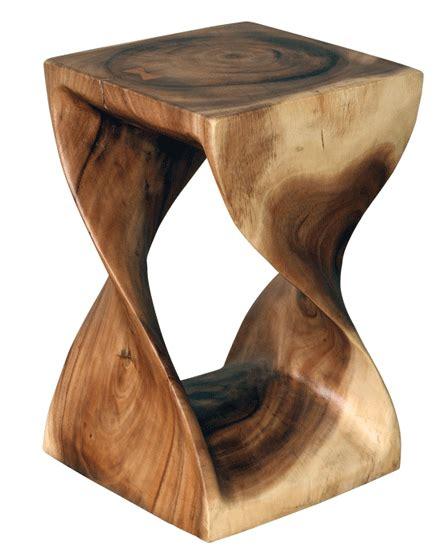 18 Inch Vase Twist Stool Carved In Acacia Wood