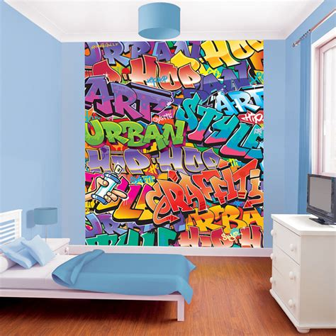 murals for bedrooms walltastic graffiti wallpaper mural