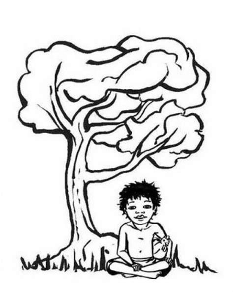 dibujos de rboles para colorear para ni os nino desnutrido debajo de un arbol para pintar y colorear