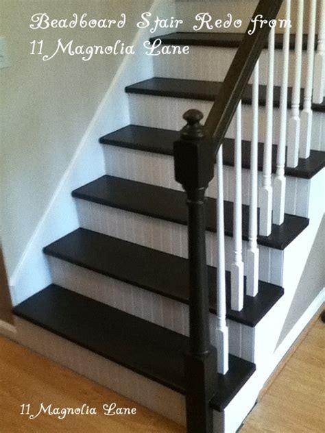 stair redo  painted treads  beadboard risers