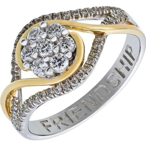 buy sterling silver two tone cubic zirconia cluster ring