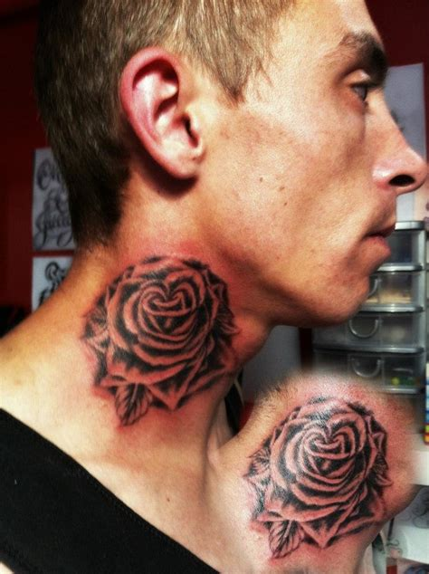 full neck tattoo designs grey ink flower side neck