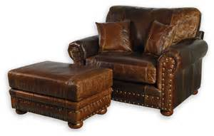 Western style leather oversized chair southwestern armchairs and