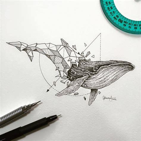 geometric tattoo whale lovely half geometrical drawings of wild animals fubiz media