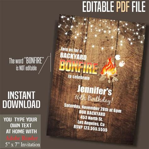 Instant Editable Bonfire Birthday Invitation 28 Images Bonfire Birthday Invitation Backyard Cing Invitations Templates Free
