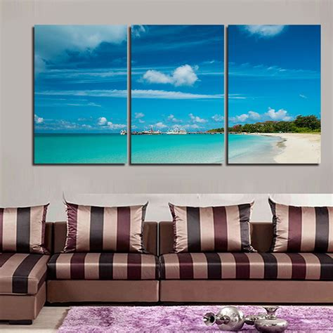 home decorating with modern art 2016 new framed 5sets canvas painting art blue sea picture