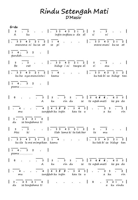 Chord Lagu D Masiv Rindu Setengah Mati - Chord Walls