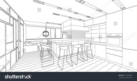 how to make a blueprint of a room interior vector drawing architectural design living stock vector 179040893