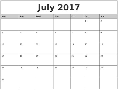 printable calendar by month 2017 july 2017 monthly calendar printable