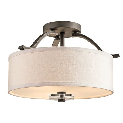 semi flush kitchen lighting shop kichler lighting leighton 16 in w olde bronze etched