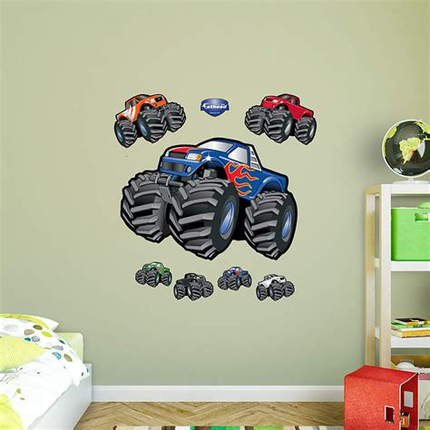 monster truck bedroom decor monster trucks wall decal shop fathead 174 for general kids