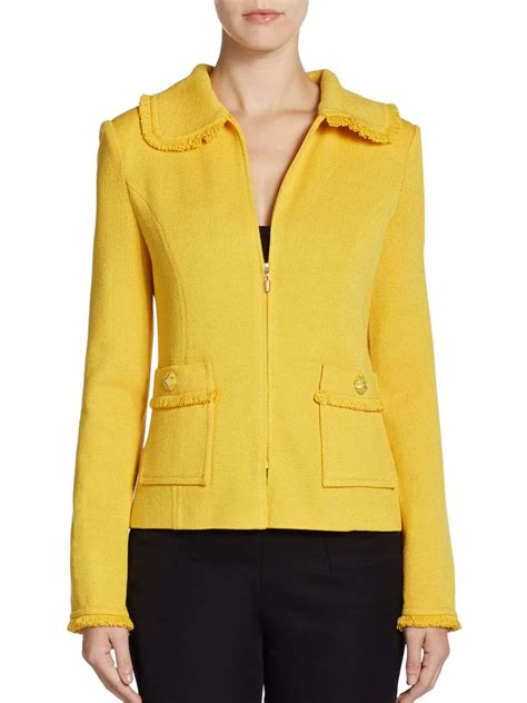 St Fringed Santana Knit Jacket In Yellow Mustard