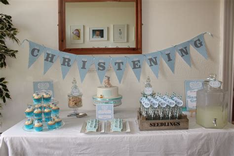 baby boy christening dessert table baby christening