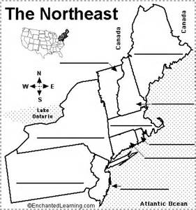 map of the united states northeast region label northeastern us states printout enchantedlearning