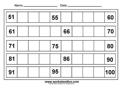 printable worksheets for numbers 1 50 12 best images of blank kindergarten numbers 1 100
