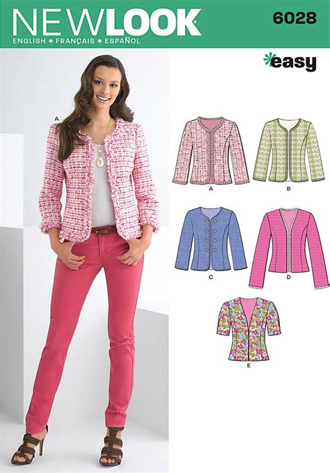 sewing pattern pink lady jacket new look 6028 misses jackets