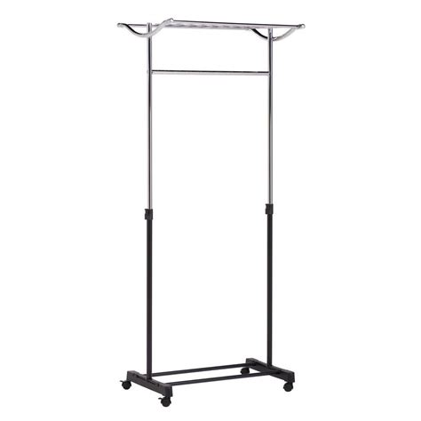 rolling garment rack honey can do steel rolling garment rack with top shelf in